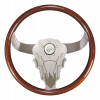 "#1 Seller Semi Truck Steering Wheel Cow Skull.  Luxury Series.  Bull/Buffalo - 18"" Mahogany Rim, Polished Aluminum, Etched Bull/Buffalo Face 3-Spoke (Alum. Spacer Included)"